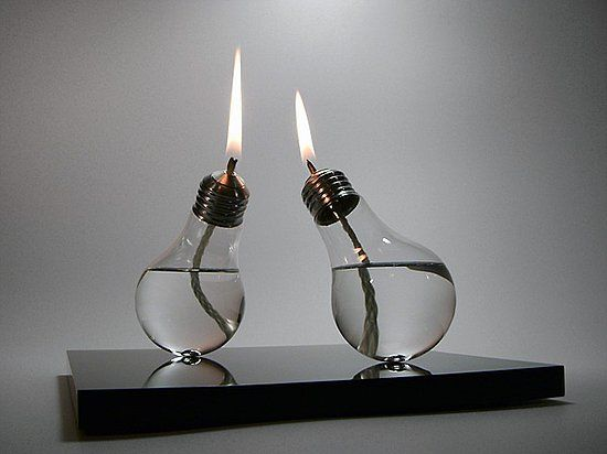 oil lamps from light bulbs