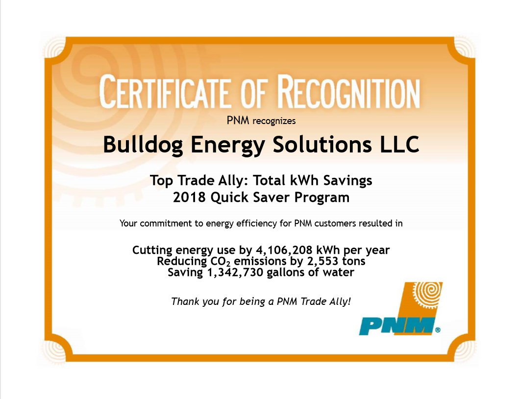 BES 2018 Certificate of Recognition for PNM Trade Ally Program